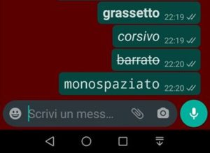 Whatsapp formattazione testo