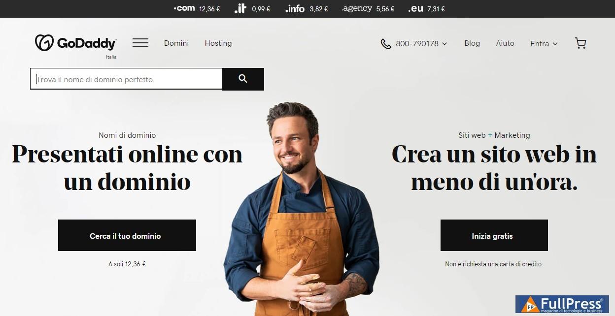 La home page di GoDaddy