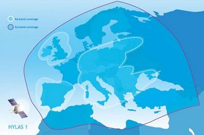 Hylas 1, raggio d'azione del satellite per la banda larga