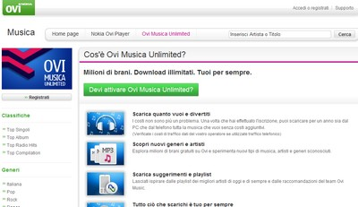 Ovi Music Unlimited di Nokia