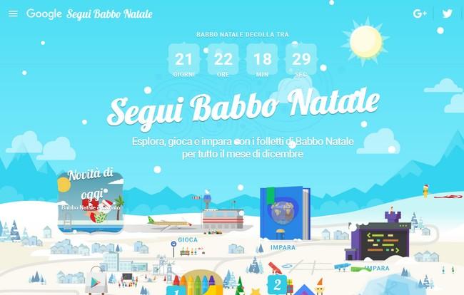 Google Santa Tracker homepage 2015