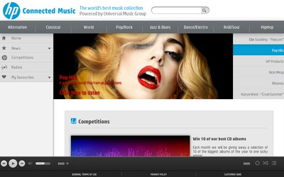 HP Connected Music, l'attuale homepage del servizio