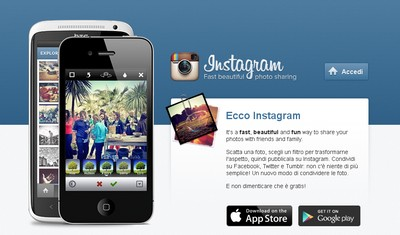 Instagram, homepage della piattaforma su web