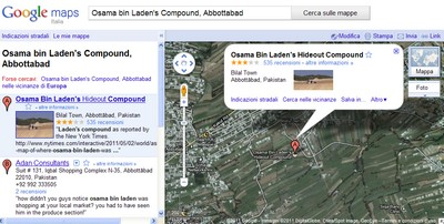 Il nascondiglio di Bin Laden visibile su Google Maps