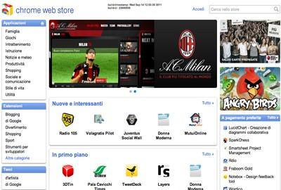Web Store di Chrome in Italia, particolare della home