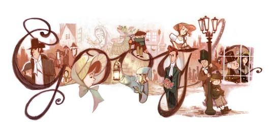 Google Doodle con dedica  a Charles Dickens
