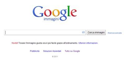 Google ricerca con immagini, la home