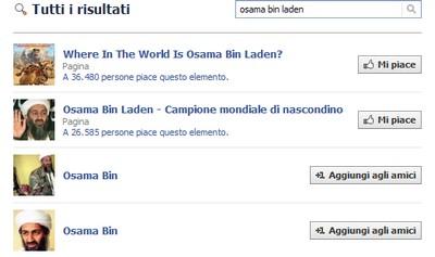 Bin Laden su Facebook, pagine dedicate