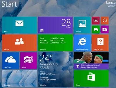 Windows 8.1, una schermata