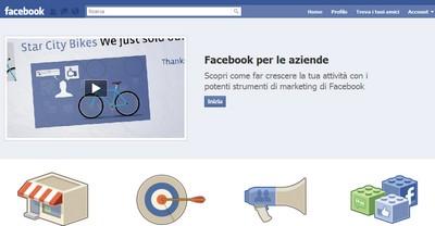 Facebook per le aziende, pagina dedicata