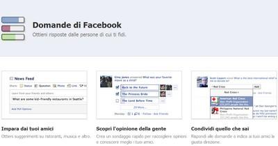 Facebook Domande, novità in Italia