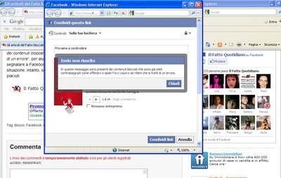 Il Fatto Quotidiano bloccato da Facebook, screenshot