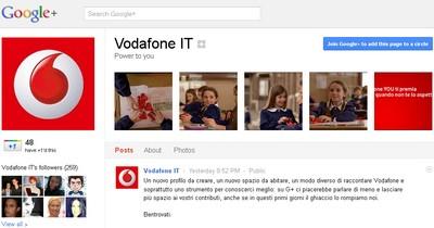 Pagine Google+: la pagina aziendale di Vodafone Italia