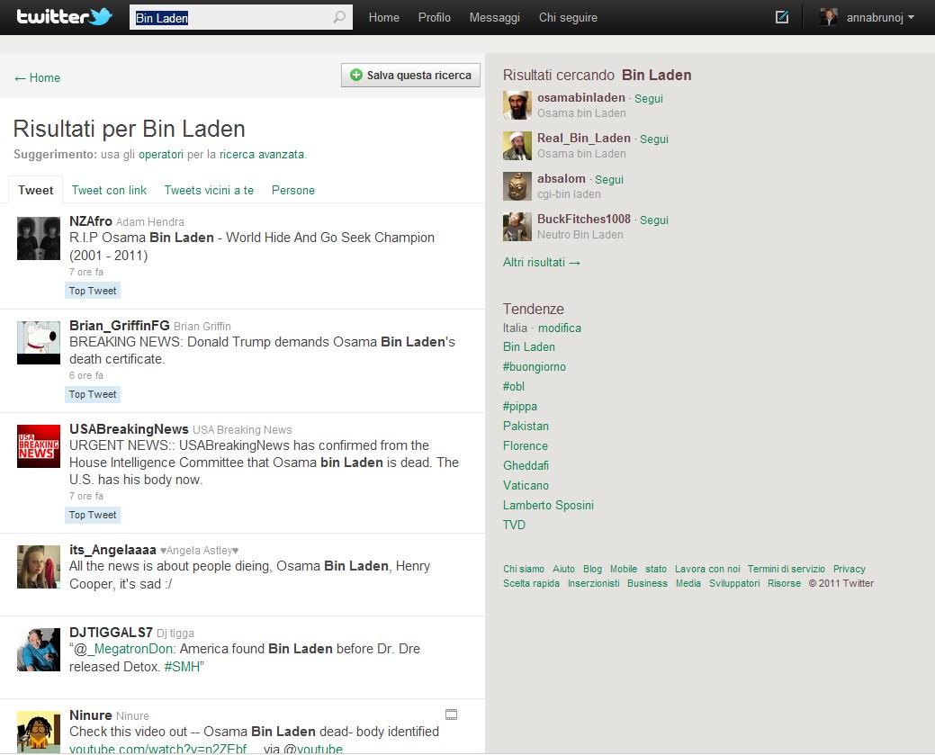 La notizia della morte di Osama Bin Laden Su Twitter