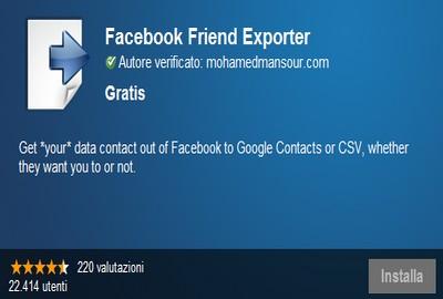 Facebook Friend Exporter, esportare contatti da Facebook