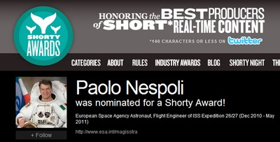 Paolo Nespoli candidato agli Shorty Award