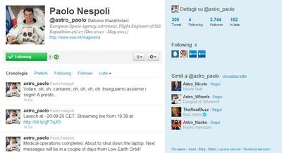 Account di Paolo Nespoli su Twitter