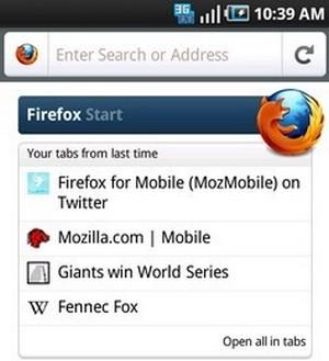 Firefox Mobile release 4 beta 2, particolare interfaccia