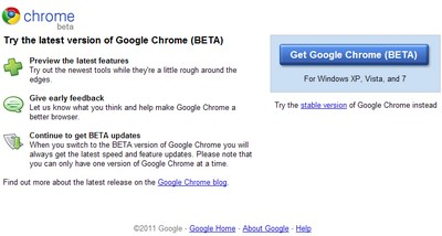 Google Chrome 10 beta in download