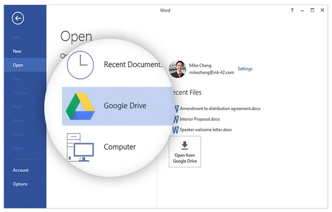 Google Drive per Office plug-in