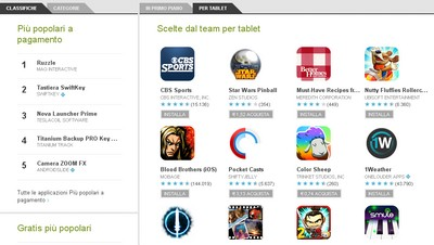 App per Android su Google Play Store