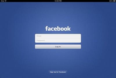 App Facebook su iPad, schermata iniziale