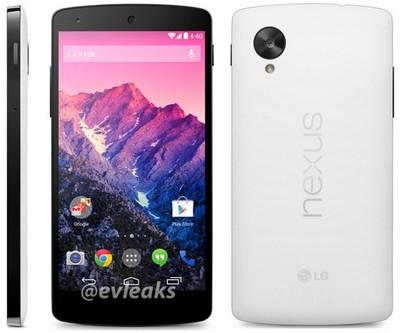 Nexus 5 bianco, foto @evleaks